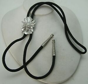 Vintage Southwest American Indian Navajo Style White Metal Indian Chief Bolo Tie