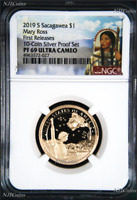 2019 S Proof Native American Mary Ross NGC PF69 Dollar in 10-coin-silver-set FR