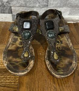 Sam Edelman Turquoise Wedge Cork Shoes Women's Size 8