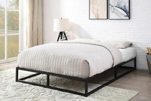Modern Black Metal Bed Frame Loft Bed Low Platform Single Double King    BSD