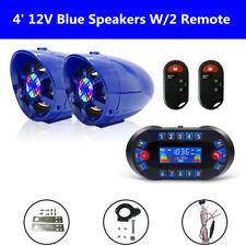 "4"" ATV UTV Anti-Theft Speakers USB Audio System Stereo Bluetooth Motor Remote"
