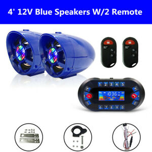 "4"" ATV UTV Anti-Theft Speakers USB Audio System Stereo Bluetooth Motor Remote"