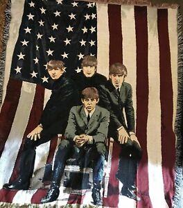 Beatles Blanket Tapestry Throw McCartney Ringo Lennon George USA Flag Blanket