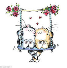 New Penny Black FURRY EMBRACE Wood Rubber Stamp Love Heart Cat Flower Swing Rose