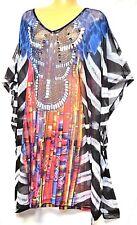 Plus Sz M / 16 18 20 TS Taking Shape Conga Tribal Kaftan Glam Sheer Top