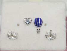 AUTHENTIC PANDORA Blue Hot Air Balloon & Heart Stud earrings, 298058EN195  #1940