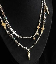 Eternity Cross Necklace Steve Madden Rhinestone Silver Gold Tones