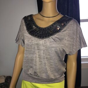 iZBYER - SILVER & BLACK with Sequins - Blouse Top - Women's Small