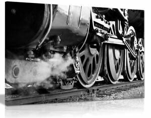 Vintage Steam Train Locomotive Black & White Canvas Wall Art Picture Print