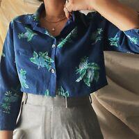 True Vintage 90s Blue Floral Crop Shirt Blouse Top Cottagecore Oversized