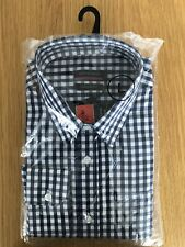 Mens Pierre Cardin Long Sleeve Shirt Size Large Navy Gingham Check Brand New