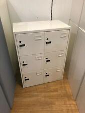 White Metal Locker Unit Secure Personal Employee Storage 6 Compartment WALTON