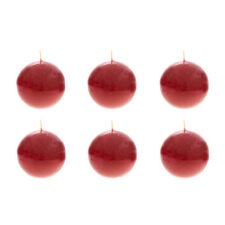 "Mega Candles - Unscented 3"" Hand Poured Round Premium Ball Candle Red 6PCS"