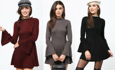 S M L Junior's Sweater Dress Ribbed Knit Long Flare Bell Sleeve Mock Neck