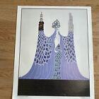 """Vtg. Erte OCEAN PACIFIQUE Print Unframed Art Deco Lady 21"""" X 17"""""""