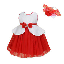 New Ivory and Red Flower Girl Party Bridesmaid Dress+Headband 6-7 Years