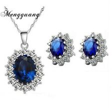 Silver Opal Cut Created Blue Sapphire Pendant Necklace & Earring Set Gift Box S3