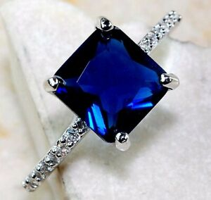2CT Blue Sapphire & Topaz 925 Solid Sterling Silver Ring Jewelry Sz 6