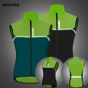 Windproof Hi Vis Cycling Vest Sleeveless Jacket Water Resistant Running Sports