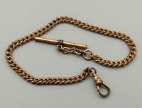 "Antique Gold Filled Fob Pocket Watch Chain Edwardian Victorian 12 1/4"" Vtg"