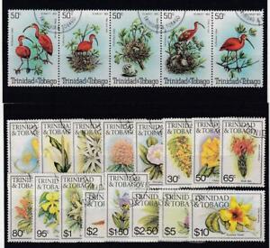 TRINIDAD & TOBAGO (MM297,A) # 328,392-407 VF-USED VARc,$ FLOWERS / IBIS  CV $39