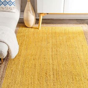 5x8 feet square indian hand braided yellow color with natural boarder boundary