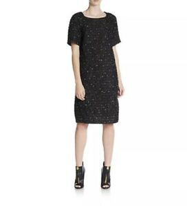 DRIES VAN NOTEN Dress 36 Black Confetti Tweed Short Sleeve Mod LBD NWT 2K Shift