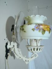 Early Electrified Bracket Lamp Mercury Glass Reflector Hand Painted Shade Ligh