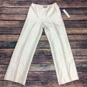 Ann Taylor Women's Sz 4 100% Silk Audrey Fit Dress Tan Pants Front Crease Lined
