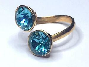 SWAROVSKI ELEMENTS CRYSTAL RING GOLD PLATED TURQUOISE BLUE ADJUSTABLE