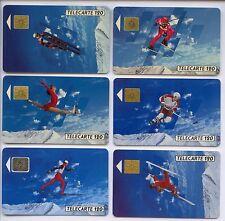 6 TELECARTE / PHONE CARD .. FRANCE 120U OLYMPIQUE OLYMPIC 1992 SKI MIX UT/PUCE