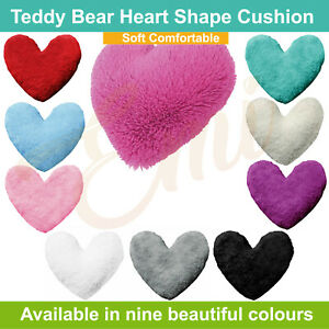 Teddy Bear Fleece Heart Shape Cushion Soft Comfortable Home Decor Size 30cm (UK)