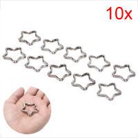 10pcs Polished Silver Keyring Star Keychain Split Ring Chain Key Rings  SE