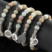Women Men Matte Amazonite Stone OM Lotus Buddha Yoga Bracelets Chakra Mala Beads
