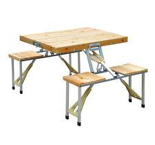 Outsunny - Tavolino Pieghevole da Campeggio in Legno con 4 Sedie Colore Naturale