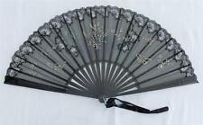 Antiguo Victoriano Tallada Ébano, Negro Encaje de Chantilly y Gasas Ventilador C1890