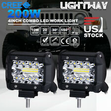 2x 4 inch Cree LED Work Light Bar 200W Spot Flood Combo Triple Row Driving Lamps