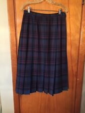 Pendleton Blue Black Brown Plaid Pleated 100% Virgin Wool Skirt Size 10
