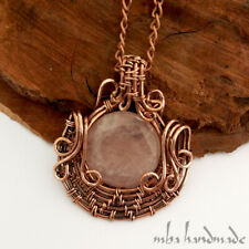 Rose Quartz Natural Gemstone Copper Wire Wrapped Pendant by mba handmade jewelry