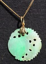 Vintage 14K Gold Italian made necklace w High Quality Chinese Jade Peach pendant