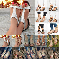 Womens Boho Casual Sandals Ladies Summer Peep Toe Holiday Beach Flats Shoes