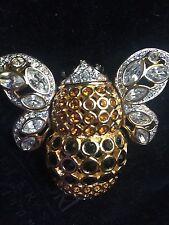 New Swan Stamped Swarovski Bumble Bee Brooch/pin
