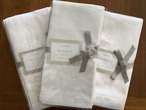 Set of 12 NWT Williams-Sonoma Double Hemstitched 100% Linen Napkins White