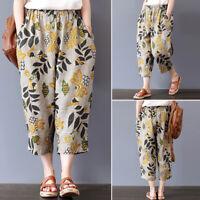 ZANZEA Femme Pantalon à imprimé floral Taille elastique Poche Loisir Loose Plus