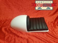 HONDA CR STYLE FIBREGLASS CAFE RACER SEAT FINISHED IN WHITE & DELUXE BLACK PAD