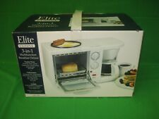 Elite Cuisine Deluxe 3 in 1 Toaster Oven and Coffee Pot Griddle New
