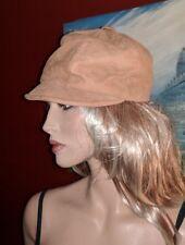 VINTAGE SOFT SUEDE TAN UNISEX HAT S/M CAP BEANIE VISOR HIPPIE BOHEMIAN FESTIVAL
