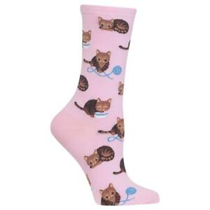 Cat & Yarn Hot Sox Women's Crew Socks Pet Pink New Novelty String & Meow Fashion