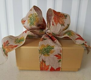 "Autumn Maple Leaf Wired Ribbon * Gold Edged * Burlap * Hessian Wreath Gift 2.5"""
