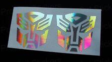 50mm 5cm x2 Transformers Autobots Ologramma Argentato Cromo Adesivi Decalcomanie